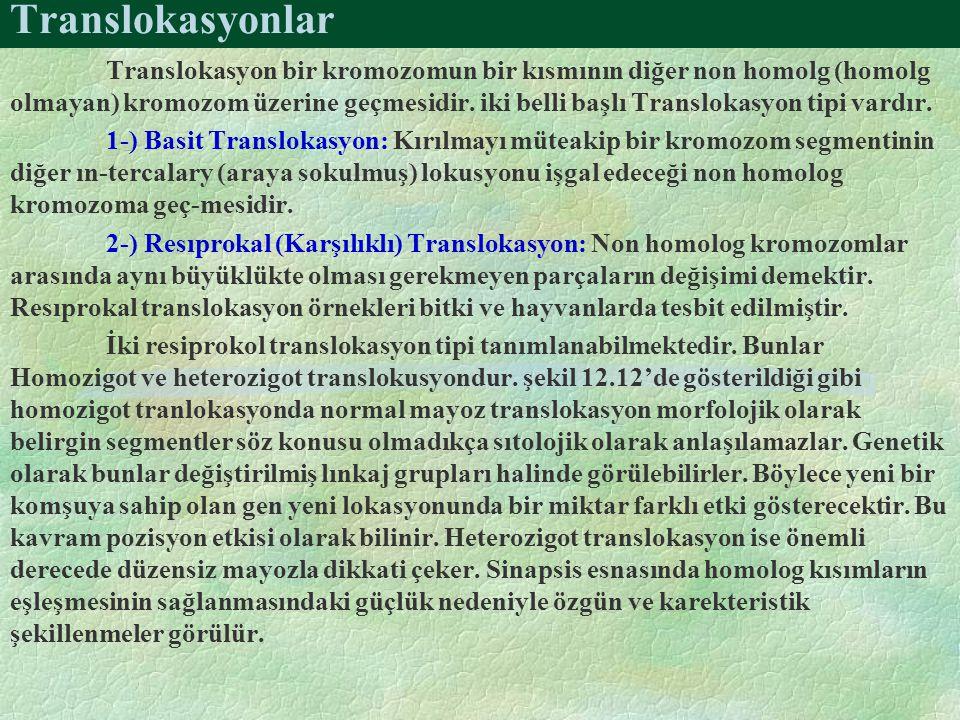 Translokasyonlar Translokasyon bir kromozomun bir kısmının diğer non homolg (homolg olmayan) kromozom üzerine geçmesidir. iki belli başlı Translokasyo