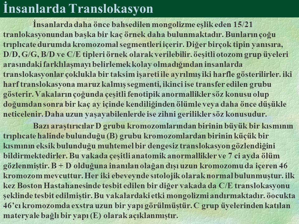 İnsanlarda Translokasyon İnsanlarda daha önce bahsedilen mongolizme eşlik eden 15/21 tranlokasyonundan başka bir kaç örnek daha bulunmaktadır. Bunları