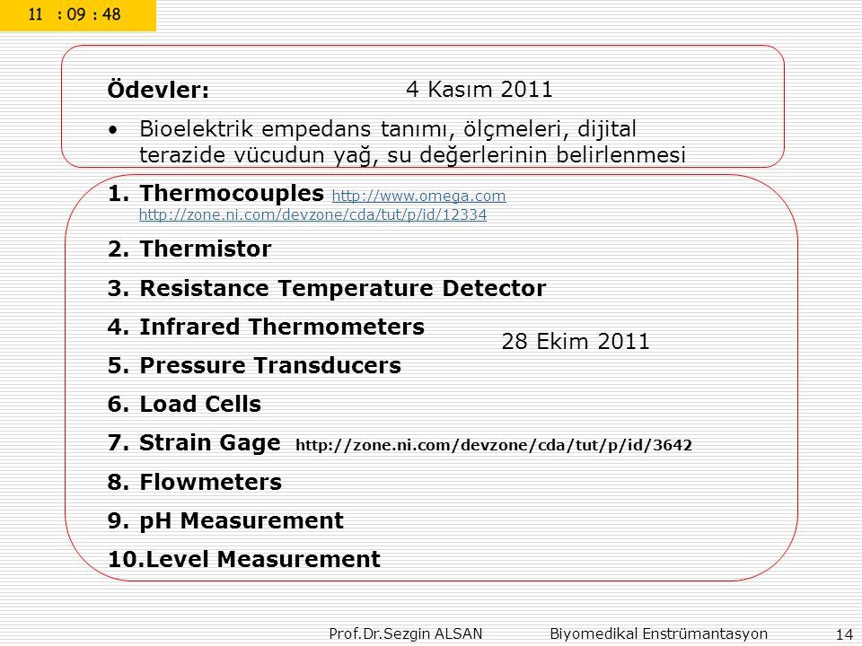 Prof.Dr.Sezgin ALSAN Biyomedikal Enstrümantasyon 14 Ödevler: Bioelektrik empedans tanımı, ölçmeleri, dijital terazide vücudun yağ, su değerlerinin belirlenmesi 1.Thermocouples http://www.omega.com http://zone.ni.com/devzone/cda/tut/p/id/12334 http://www.omega.com http://zone.ni.com/devzone/cda/tut/p/id/12334 2.Thermistor 3.Resistance Temperature Detector 4.Infrared Thermometers 5.Pressure Transducers 6.Load Cells 7.Strain Gage http://zone.ni.com/devzone/cda/tut/p/id/3642 8.Flowmeters 9.pH Measurement 10.Level Measurement 28 Ekim 2011 4 Kasım 2011