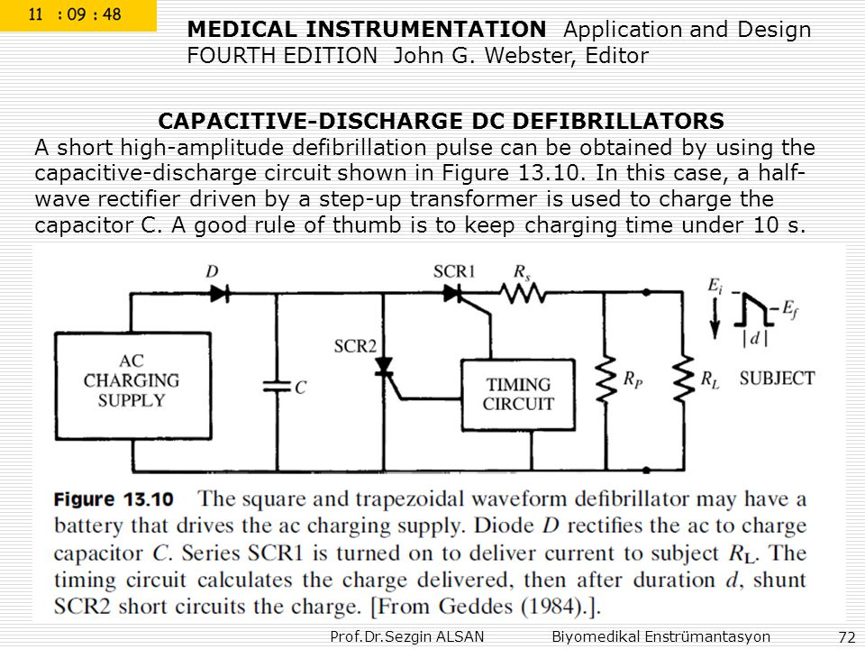 Prof.Dr.Sezgin ALSAN Biyomedikal Enstrümantasyon 72 CAPACITIVE-DISCHARGE DC DEFIBRILLATORS A short high-amplitude defibrillation pulse can be obtained