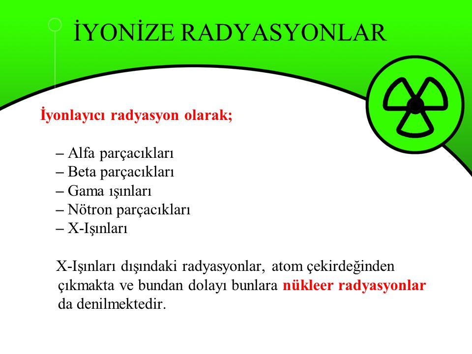 İYONİZE RADYASYONLAR İyonlayıcı radyasyon olarak; – Alfa parçacıkları – Beta parçacıkları – Gama ışınları – Nötron parçacıkları – X-Işınları X-Işınlar