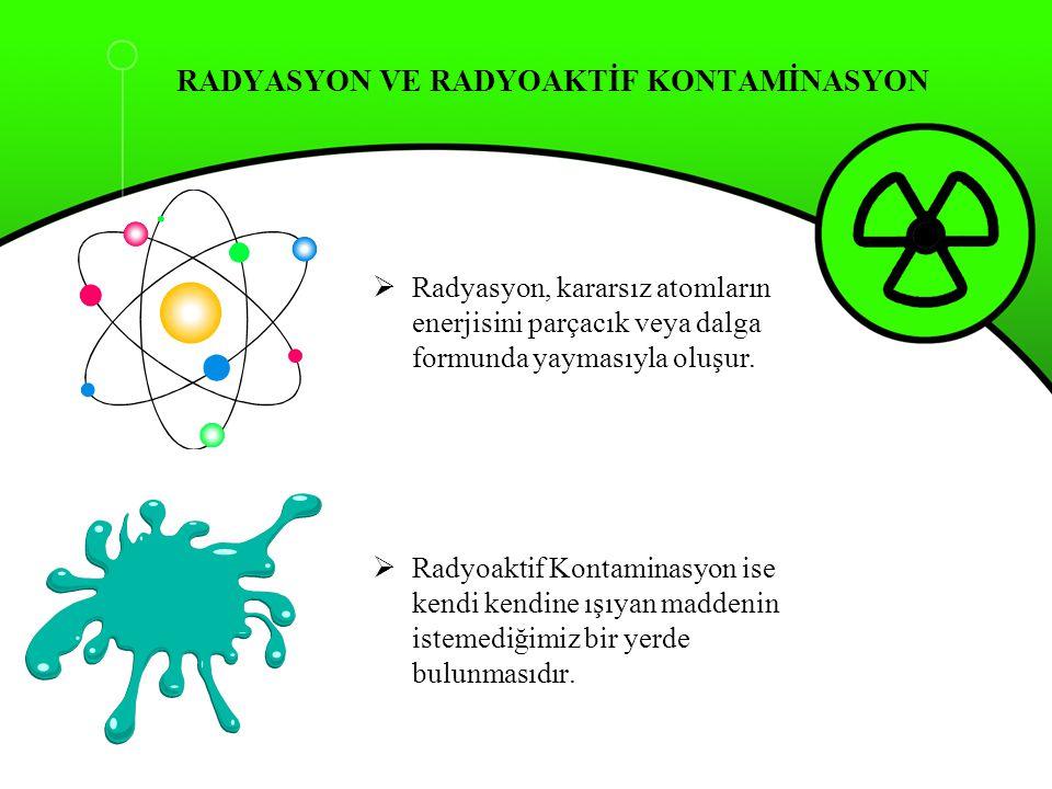 RADYASYON VE RADYOAKTİF KONTAMİNASYON  Radyasyon, kararsız atomların enerjisini parçacık veya dalga formunda yaymasıyla oluşur.  Radyoaktif Kontamin