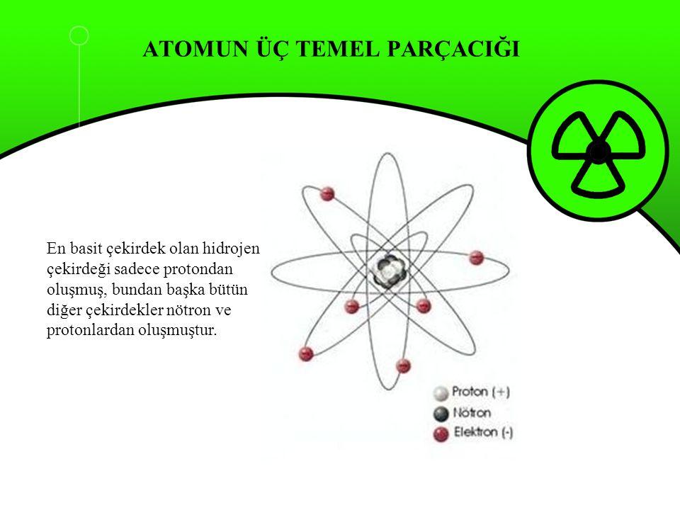 ATOMUN ÜÇ TEMEL PARÇACIĞI En basit çekirdek olan hidrojen çekirdeği sadece protondan oluşmuş, bundan başka bütün diğer çekirdekler nötron ve protonlar
