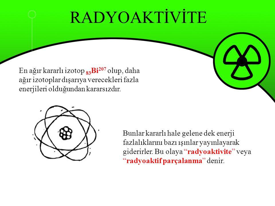 Yarılanma Süresi Radyoizotopların sahip oldukları kararsız atom sayılarının yarıya inmesi için geçmesi gereken süreye yarılanma süresi (yarı ömür) denir ve T 1/2 ile gösterilir.