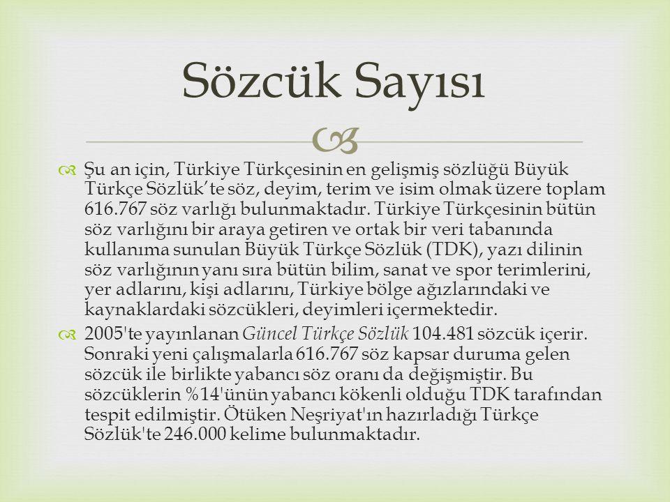   Şu an için, Türkiye Türkçesinin en gelişmiş sözlüğü Büyük Türkçe Sözlük'te söz, deyim, terim ve isim olmak üzere toplam 616.767 söz varlığı bulunm