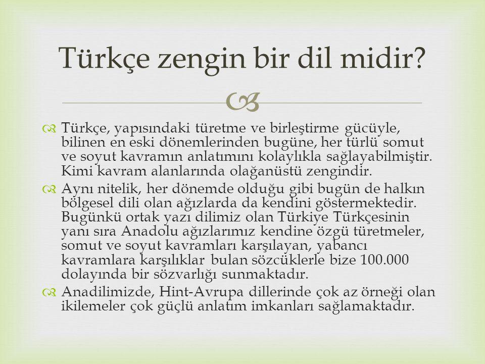   Türkçe, yapısındaki türetme ve birleştirme gücüyle, bilinen en eski dönemlerinden bugüne, her türlü somut ve soyut kavramın anlatımını kolaylıkla