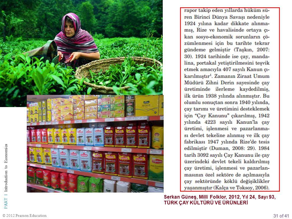 31 of 41 PART I Introduction to Economics © 2012 Pearson Education Serkan Güneş, Millî Folklor, 2012, Yıl 24, Sayı 93, TÜRK ÇAY KÜLTÜRÜ VE ÜRÜNLERİ