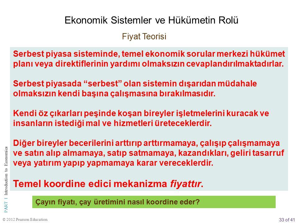33 of 41 PART I Introduction to Economics © 2012 Pearson Education Serbest piyasa sisteminde, temel ekonomik sorular merkezi hükümet planı veya direkt