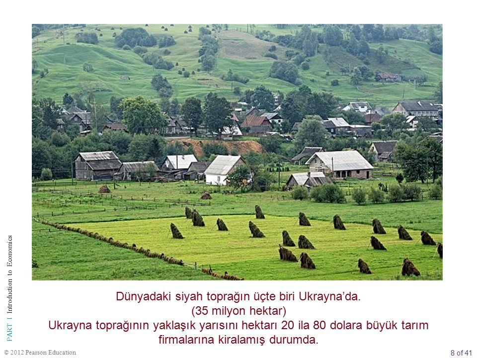 8 of 41 PART I Introduction to Economics © 2012 Pearson Education Dünyadaki siyah toprağın üçte biri Ukrayna'da. (35 milyon hektar) Ukrayna toprağının
