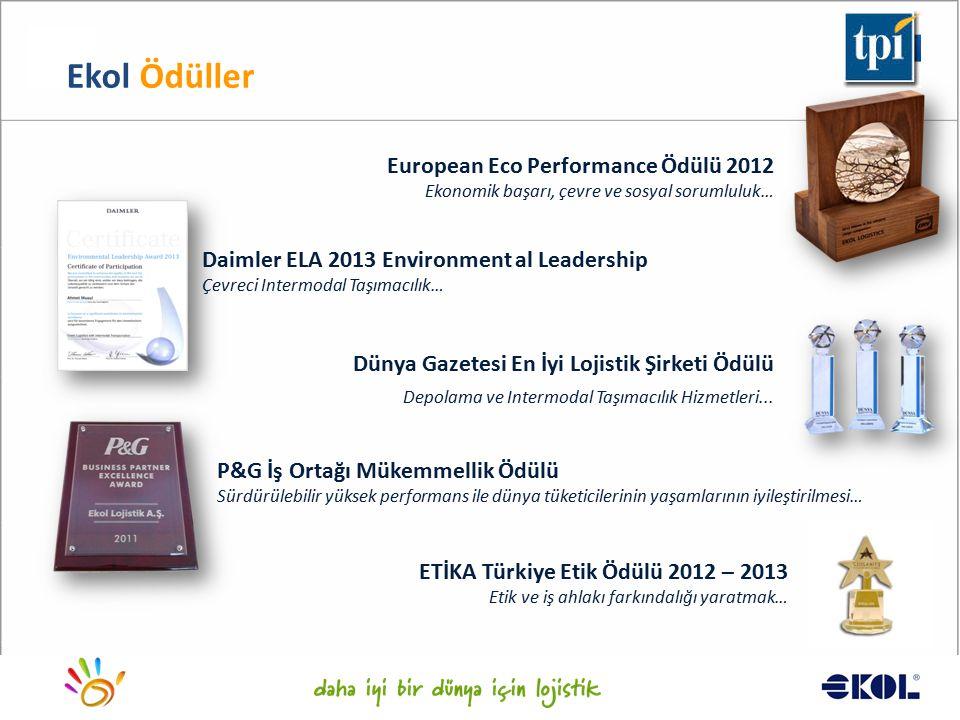 Logistics for a better world... Ekol Ödüller European Eco Performance Ödülü 2012 Ekonomik başarı, çevre ve sosyal sorumluluk… P&G İş Ortağı Mükemmelli