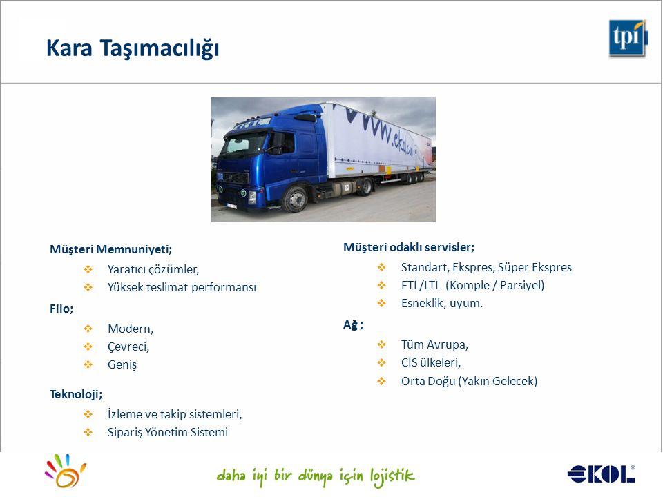 Logistics for a better world... Müşteri odaklı servisler;  Standart, Ekspres, Süper Ekspres  FTL/LTL (Komple / Parsiyel)  Esneklik, uyum. Ağ ;  Tü