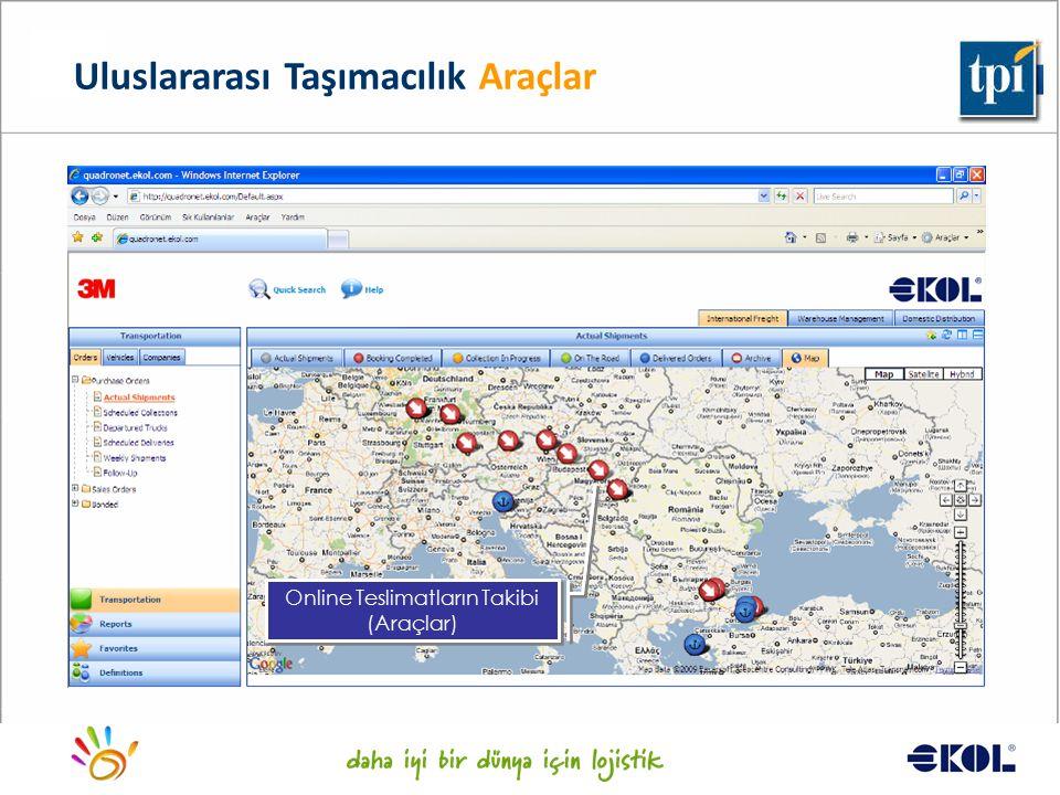 Logistics for a better world... Online Teslimatların Takibi (Araçlar) Uluslararası Taşımacılık Araçlar