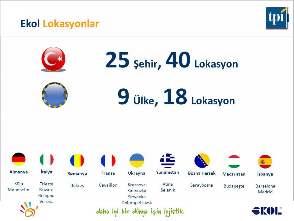 Logistics for a better world... 25 Şehir, 40 Lokasyon 9 Ülke, 18 Lokasyon Ekol Lokasyonlar Almanya Köln Mannheim Romanya Bükreş İtalya Trieste Novara
