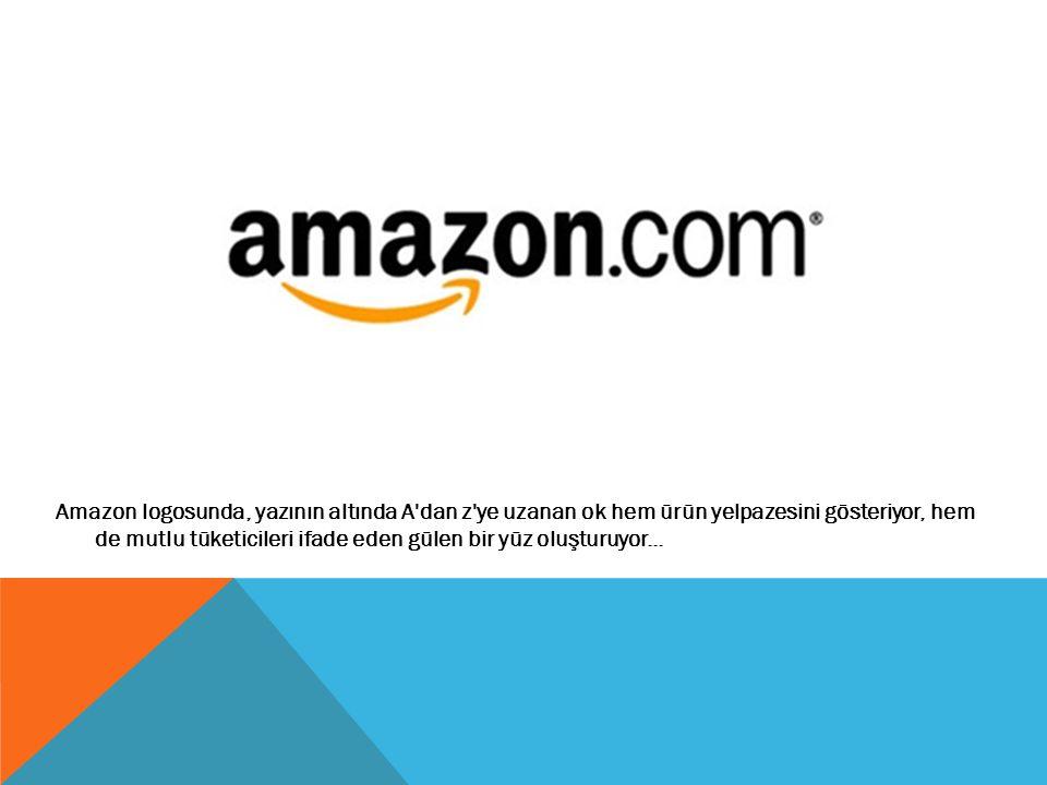 Amazon logosunda, yazının altında A'dan z'ye uzanan ok hem ürün yelpazesini gösteriyor, hem de mutlu tüketicileri ifade eden gülen bir yüz oluşturuyor