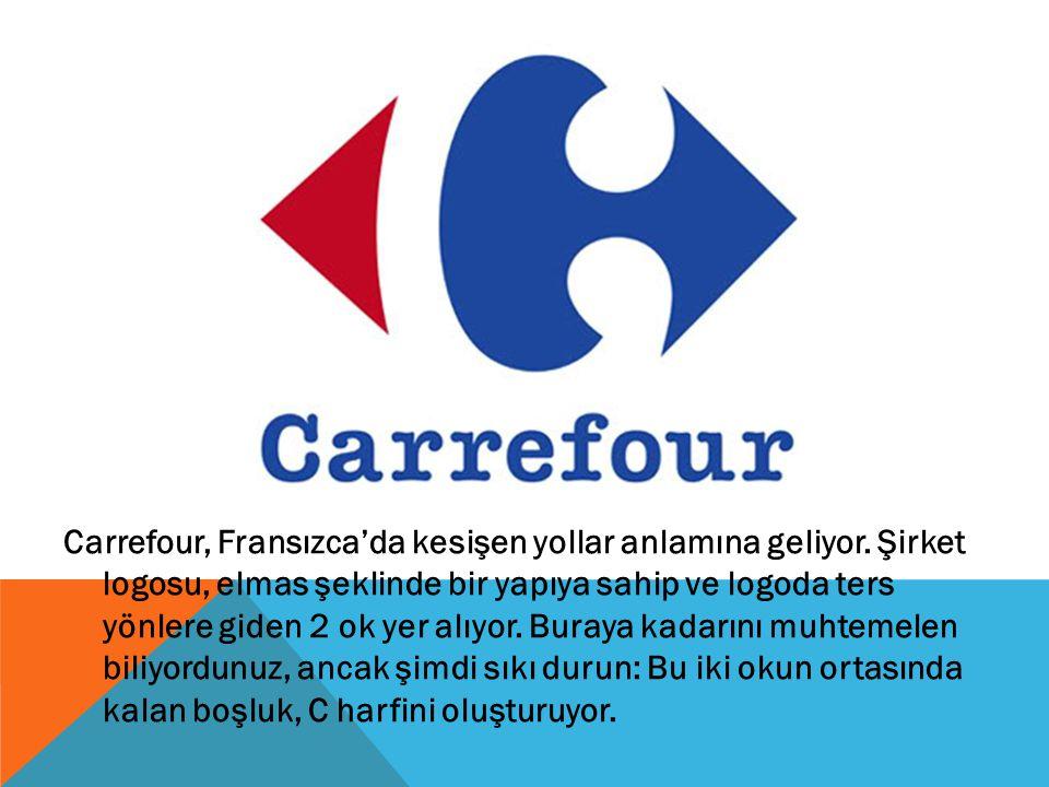 Carrefour, Fransızca'da kesişen yollar anlamına geliyor. Şirket logosu, elmas şeklinde bir yapıya sahip ve logoda ters yönlere giden 2 ok yer alıyor.