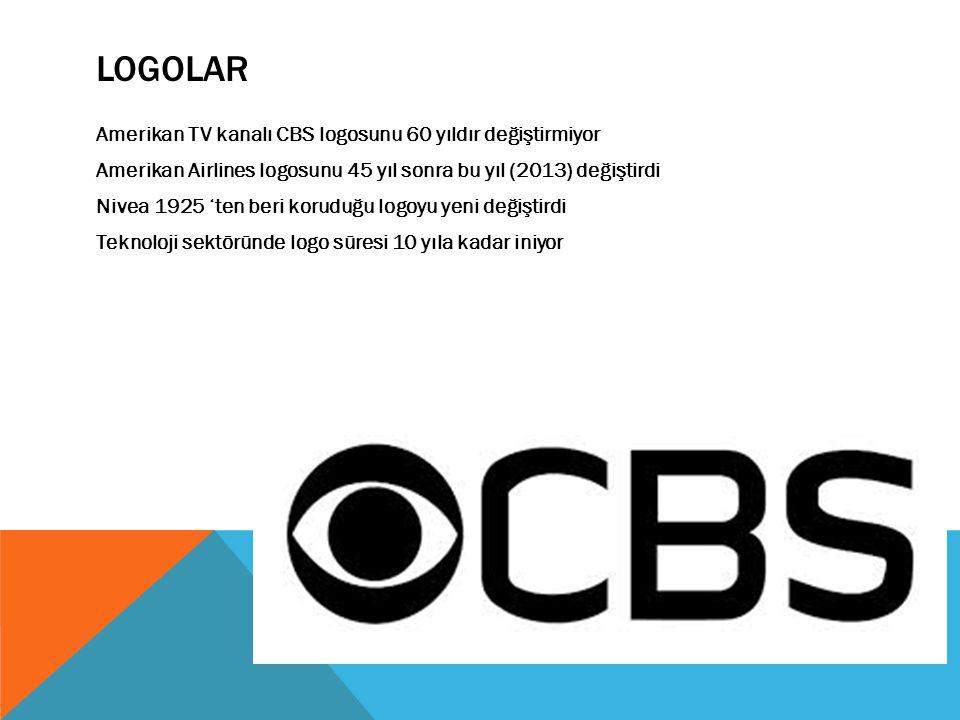 LOGOLAR Amerikan TV kanalı CBS logosunu 60 yıldır değiştirmiyor Amerikan Airlines logosunu 45 yıl sonra bu yıl (2013) değiştirdi Nivea 1925 'ten beri