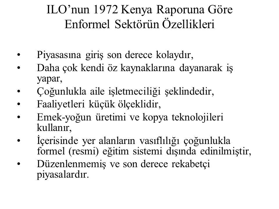 ILO'nun 1972 Kenya Raporuna Göre Enformel Sektörün Özellikleri Piyasasına giriş son derece kolaydır, Daha çok kendi öz kaynaklarına dayanarak iş yapar