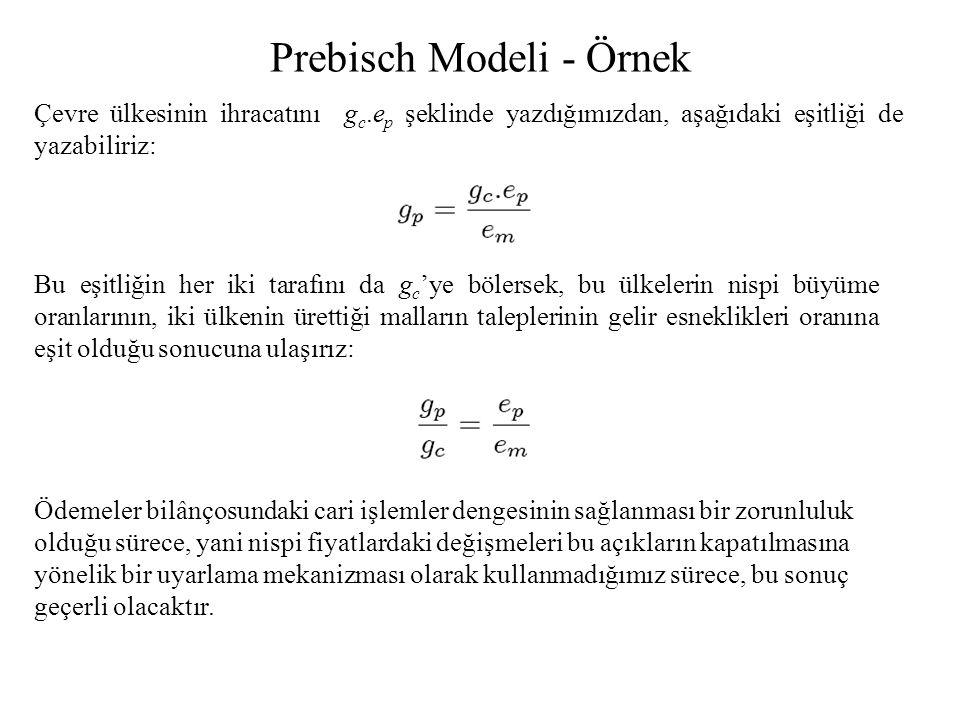 Prebisch Modeli - Örnek Çevre ülkesinin ihracatını g c.e p şeklinde yazdığımızdan, aşağıdaki eşitliği de yazabiliriz: Bu eşitliğin her iki tarafını da