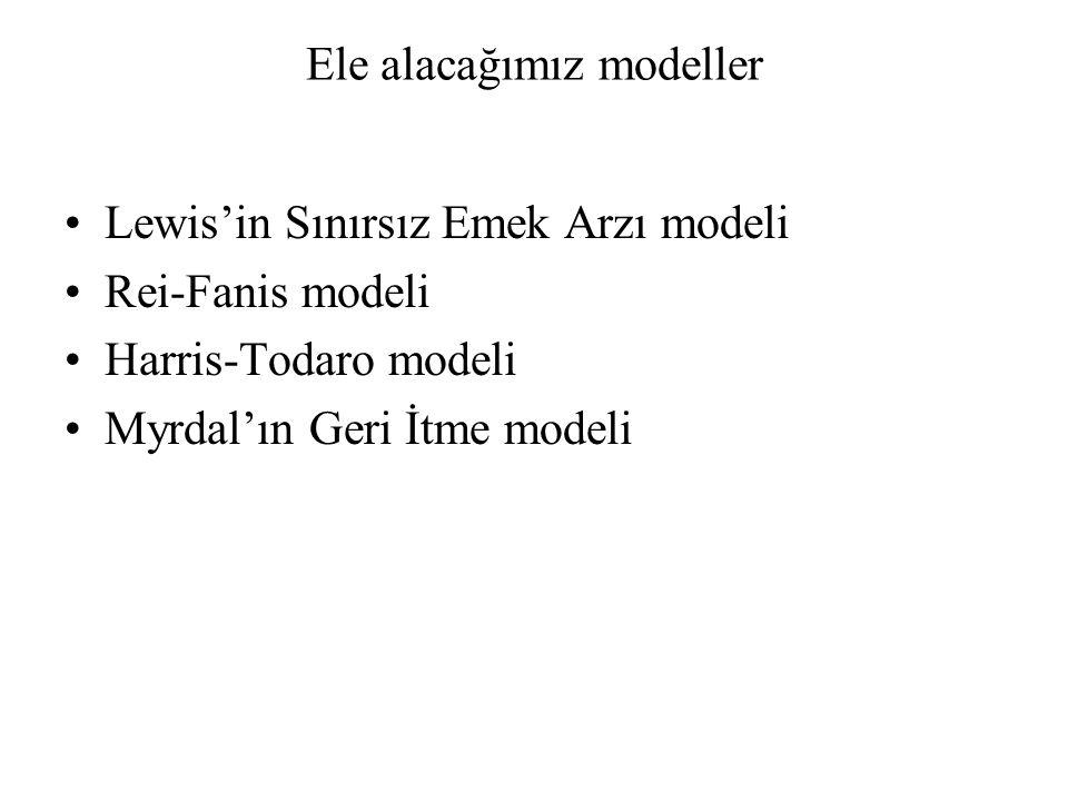 Ele alacağımız modeller Lewis'in Sınırsız Emek Arzı modeli Rei-Fanis modeli Harris-Todaro modeli Myrdal'ın Geri İtme modeli