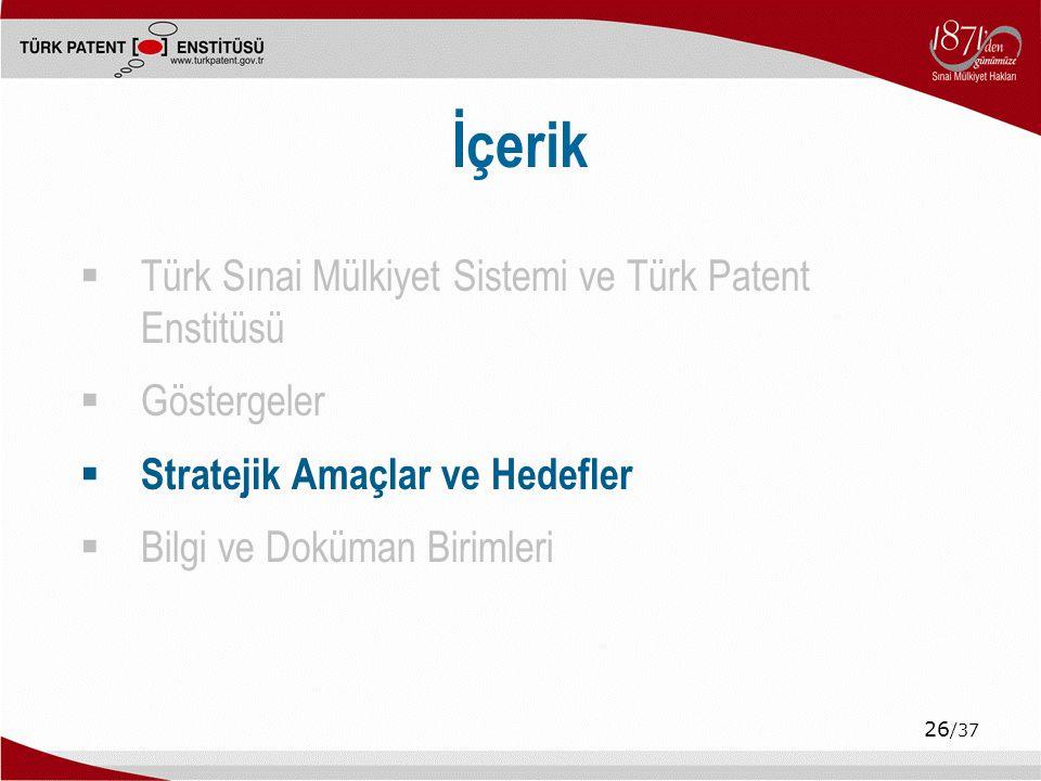 26 /37 İçerik  Türk Sınai Mülkiyet Sistemi ve Türk Patent Enstitüsü  Göstergeler  Stratejik Amaçlar ve Hedefler  Bilgi ve Doküman Birimleri