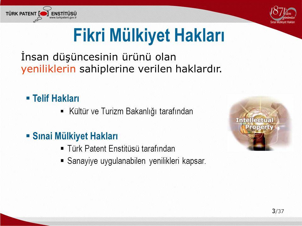 14 /37 Kurumsal Öncelikler: Tanıtım-Bilinçlendirme  Seminerler, konferanslar, eğitimler (100.000 kişi)  Türk Patent Ödülleri – Sayın Başbakanın katılımıyla  KOBİ'lere ve Üniversitelere yönelik etkinlikler  Hezarfen Projesi, Patent Günleri  İlköğretim Öğrencilerine yönelik etkinlikler  Şimdi Düşünme Zamanı Teknoloji ve Tasarım Sergisi  Ulusal ve Uluslararası Fuarlara katılım  İzmir Fuarı, CeBIT, YÖREX Yöresel Ürünler Fuarı, IENA Fuarı  Kurumlarla İşbirliği Çalışmaları  MEB, TÜBİTAK, TRT, TÜRKSAT, KOSGEB, TÜSİAD, MÜSİAD