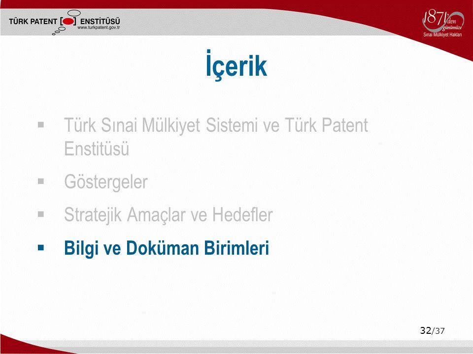 32 /37 İçerik  Türk Sınai Mülkiyet Sistemi ve Türk Patent Enstitüsü  Göstergeler  Stratejik Amaçlar ve Hedefler  Bilgi ve Doküman Birimleri