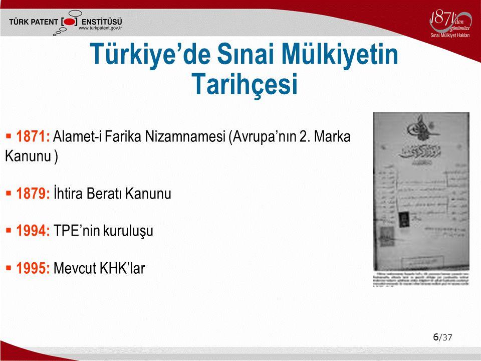 6 /37 Türkiye'de Sınai Mülkiyetin Tarihçesi  1871: Alamet-i Farika Nizamnamesi (Avrupa'nın 2.