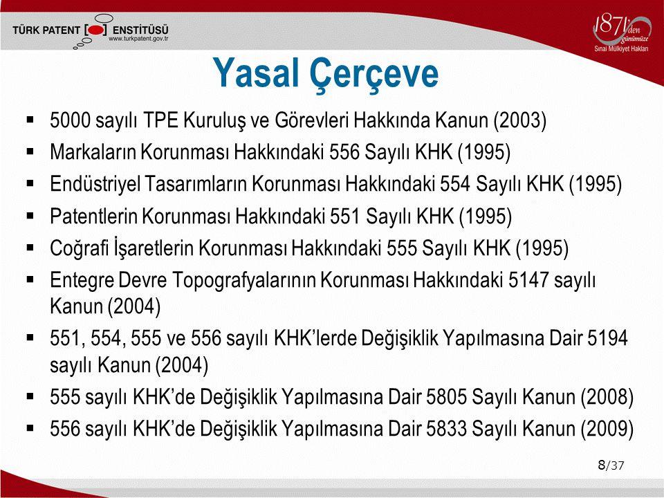 9 /37 İçerik  Fikri ve Sınai Mülkiyet Hakları ve Türk Sınai Mülkiyet Sistemi  Türk Patent Enstitüsü ve Göstergeler  Hedefler ve Projeler