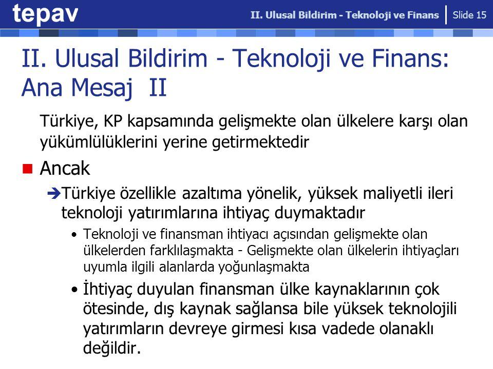 II. Ulusal Bildirim - Teknoloji ve Finans: Ana Mesaj II Türkiye, KP kapsamında gelişmekte olan ülkelere karşı olan yükümlülüklerini yerine getirmekted