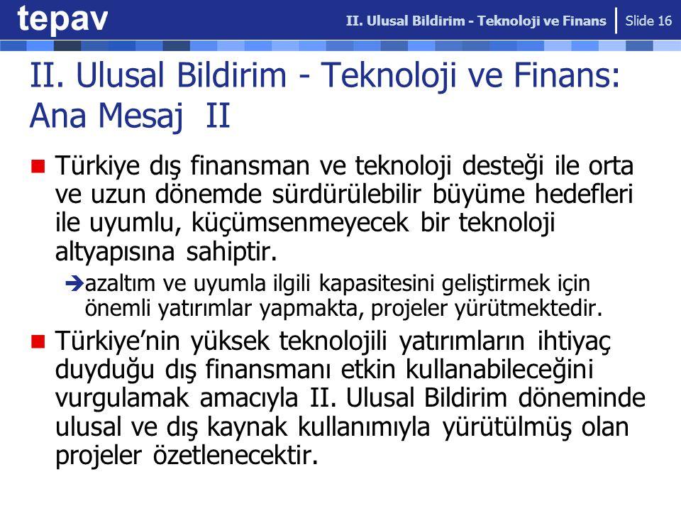 II. Ulusal Bildirim - Teknoloji ve Finans: Ana Mesaj II Türkiye dış finansman ve teknoloji desteği ile orta ve uzun dönemde sürdürülebilir büyüme hede