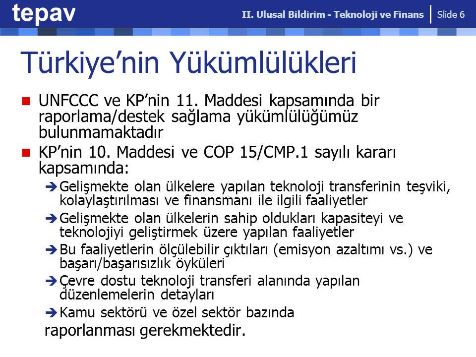 Türkiye'nin Yükümlülükleri UNFCCC ve KP'nin 11.