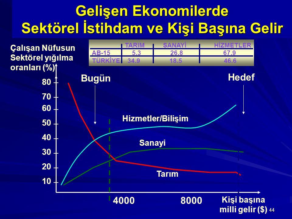 44 Gelişen Ekonomilerde Sektörel İstihdam ve Kişi Başına Gelir Kişi başına milli gelir ($) Çalışan Nüfusun Sektörel yığılma oranları (%) Sanayi Tarım Hizmetler/Bilişim 80 70 60 50 40 30 20 10 Bugün Hedef 4000 8000 TARIM SANAYİ HİZMETLER AB-15 5.3 26.8 67.9 TÜRKİYE 34.9 18.5 46.6