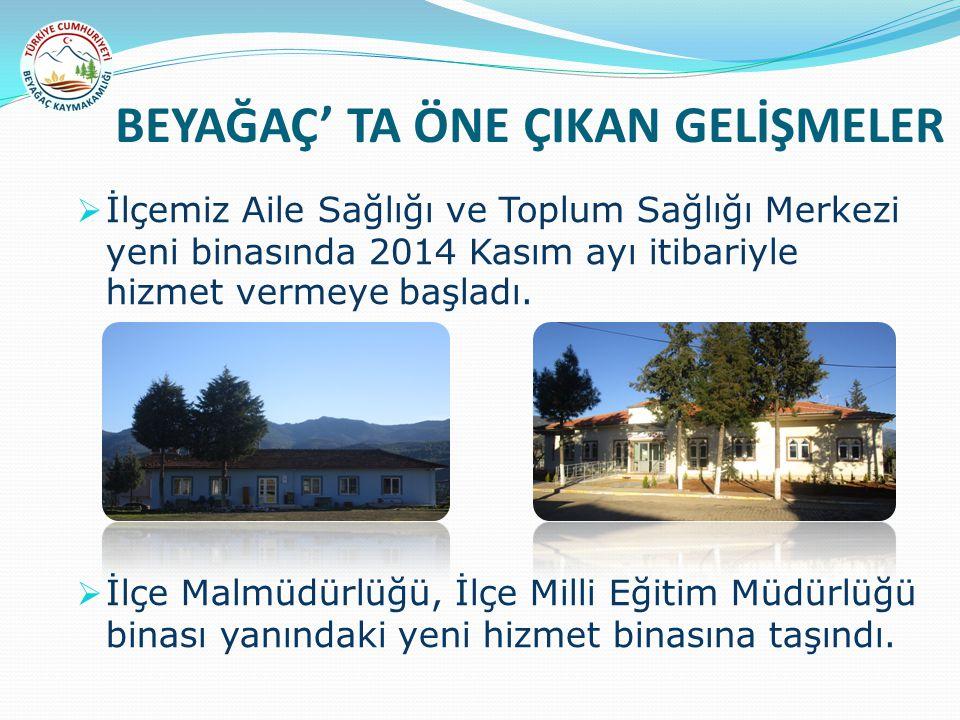 BEYAĞAÇ' TA ÖNE ÇIKAN GELİŞMELER  İlçemiz Aile Sağlığı ve Toplum Sağlığı Merkezi yeni binasında 2014 Kasım ayı itibariyle hizmet vermeye başladı.