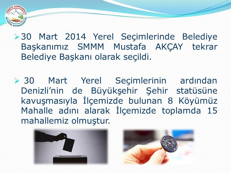  30 Mart 2014 Yerel Seçimlerinde Belediye Başkanımız SMMM Mustafa AKÇAY tekrar Belediye Başkanı olarak seçildi.  30 Mart Yerel Seçimlerinin ardından