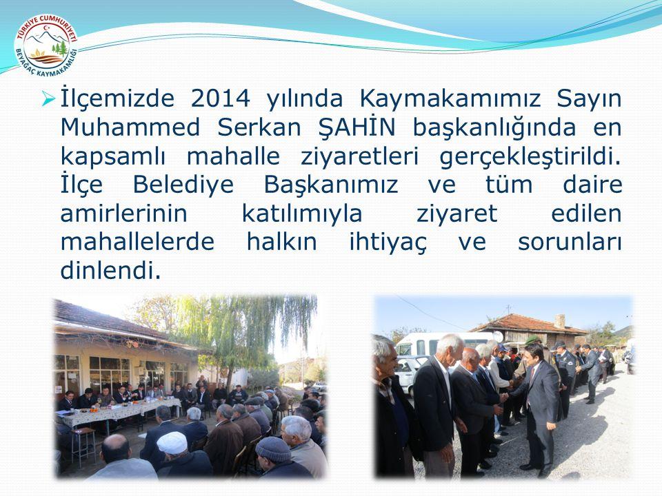  İlçemizde 2014 yılında Kaymakamımız Sayın Muhammed Serkan ŞAHİN başkanlığında en kapsamlı mahalle ziyaretleri gerçekleştirildi. İlçe Belediye Başkan