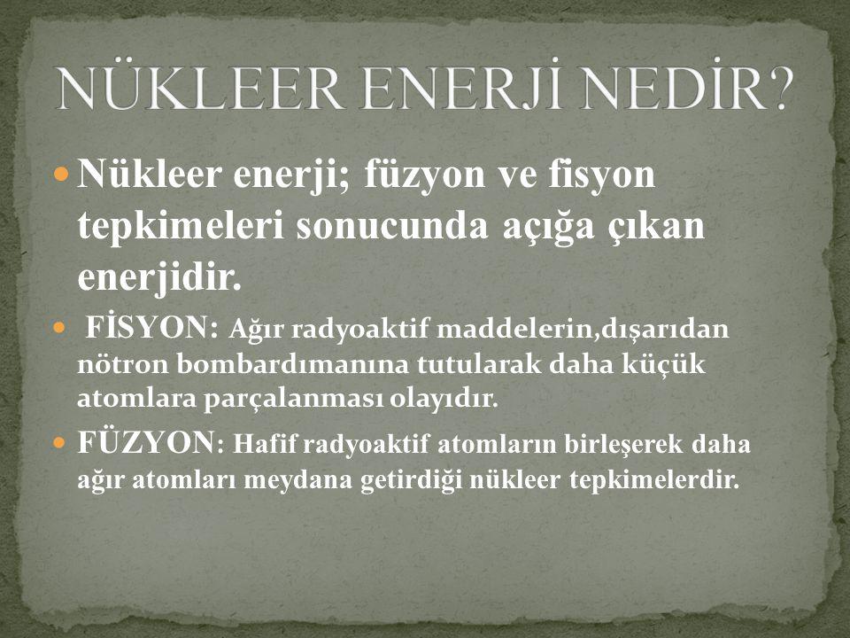 Nükleer enerji; füzyon ve fisyon tepkimeleri sonucunda açığa çıkan enerjidir.