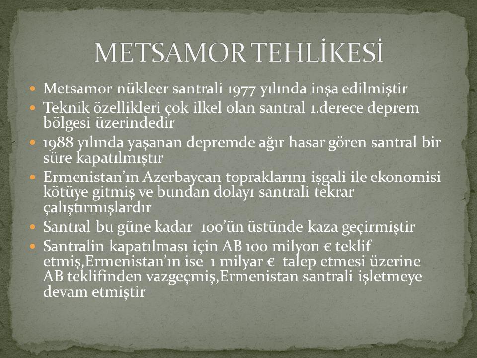 Metsamor nükleer santrali 1977 yılında inşa edilmiştir Teknik özellikleri çok ilkel olan santral 1.derece deprem bölgesi üzerindedir 1988 yılında yaşanan depremde ağır hasar gören santral bir süre kapatılmıştır Ermenistan'ın Azerbaycan topraklarını işgali ile ekonomisi kötüye gitmiş ve bundan dolayı santrali tekrar çalıştırmışlardır Santral bu güne kadar 100'ün üstünde kaza geçirmiştir Santralin kapatılması için AB 100 milyon € teklif etmiş,Ermenistan'ın ise 1 milyar € talep etmesi üzerine AB teklifinden vazgeçmiş,Ermenistan santrali işletmeye devam etmiştir