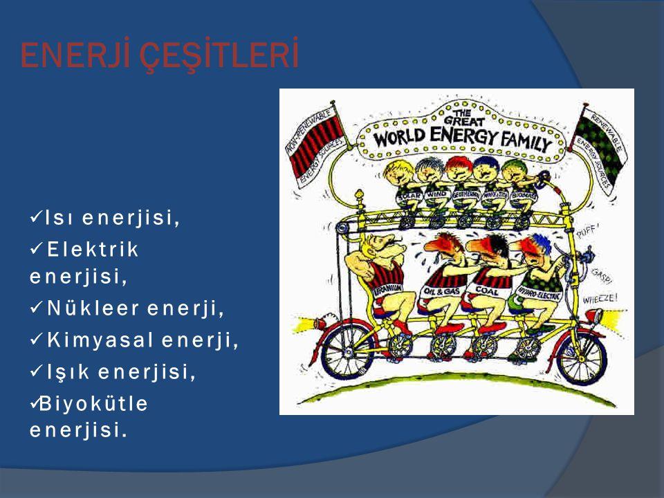 ENERJİ ÇEŞİTLERİ Isı enerjisi, Elektrik enerjisi, Nükleer enerji, Kimyasal enerji, Işık enerjisi, Biyokütle enerjisi.