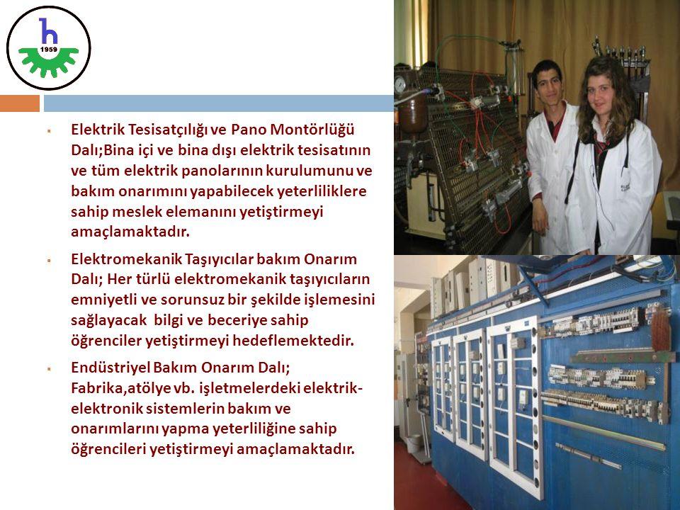  Elektrik Tesisatçılığı ve Pano Montörlüğü Dalı;Bina içi ve bina dışı elektrik tesisatının ve tüm elektrik panolarının kurulumunu ve bakım onarımını