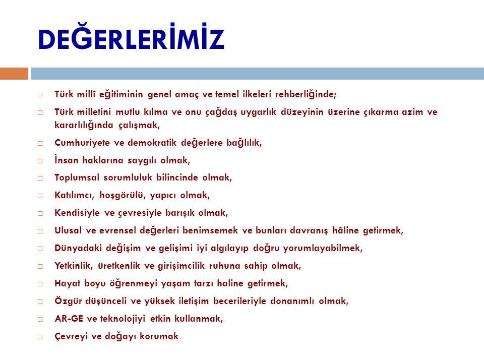 DE Ğ ERLER İ M İ Z  Türk millî e ğ itiminin genel amaç ve temel ilkeleri rehberli ğ inde;  Türk milletini mutlu kılma ve onu ça ğ daş uygarlık düzey