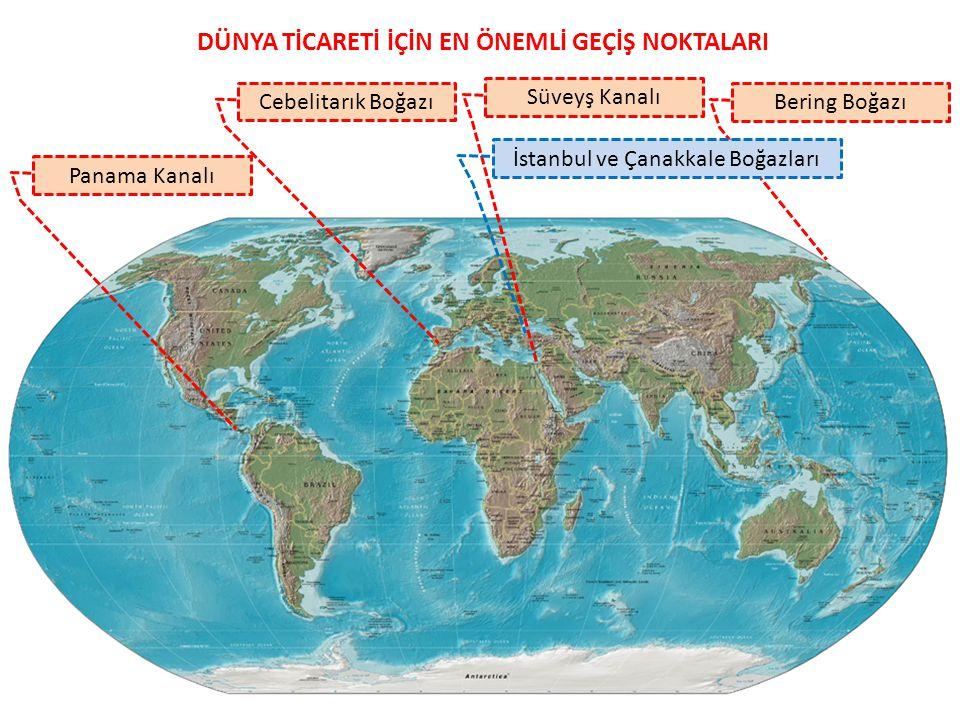 DÜNYA TİCARETİ İÇİN EN ÖNEMLİ GEÇİŞ NOKTALARI Cebelitarık Boğazı Bering Boğazı Panama Kanalı Süveyş Kanalı İstanbul ve Çanakkale Boğazları