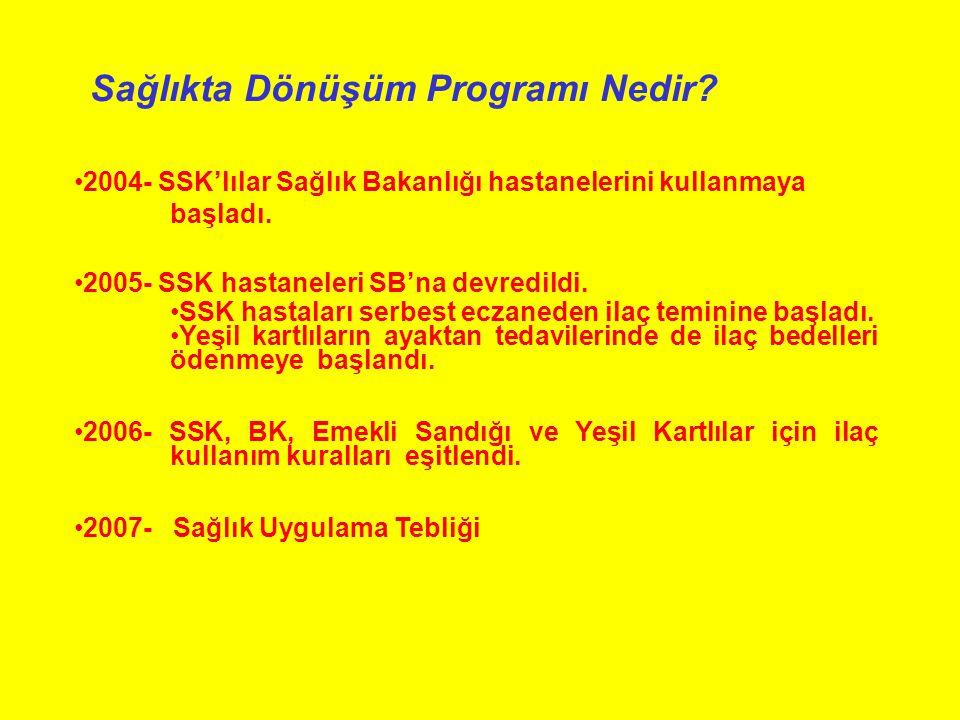 Sağlıkta Dönüşüm Programı Nedir.2004- SSK'lılar Sağlık Bakanlığı hastanelerini kullanmaya başladı.
