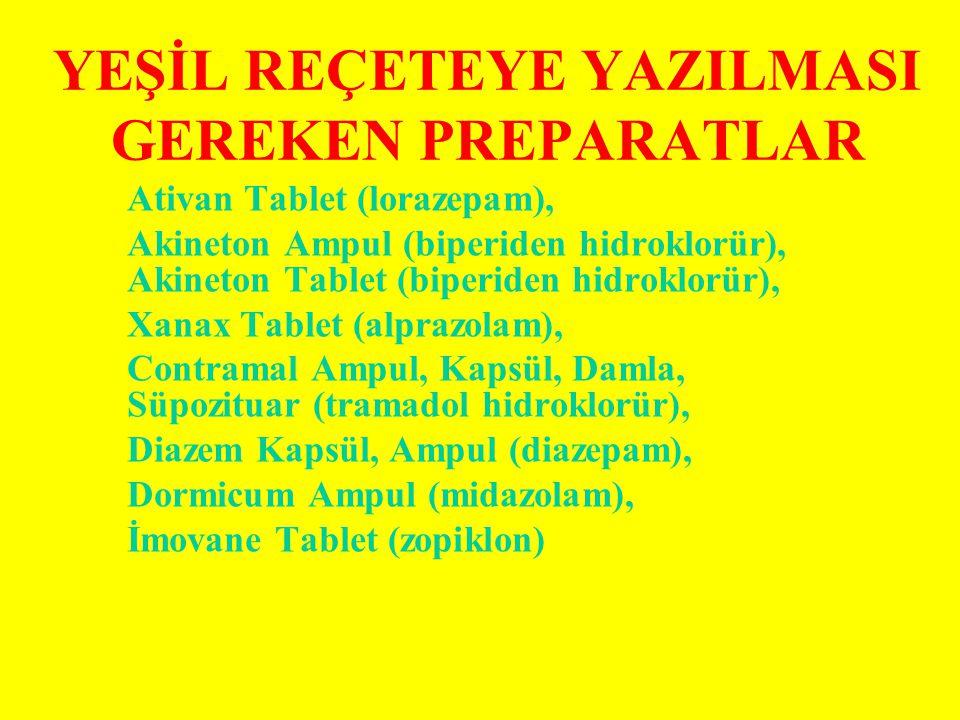 YEŞİL REÇETEYE YAZILMASI GEREKEN PREPARATLAR Ativan Tablet (lorazepam), Akineton Ampul (biperiden hidroklorür), Akineton Tablet (biperiden hidroklorür), Xanax Tablet (alprazolam), Contramal Ampul, Kapsül, Damla, Süpozituar (tramadol hidroklorür), Diazem Kapsül, Ampul (diazepam), Dormicum Ampul (midazolam), İmovane Tablet (zopiklon)