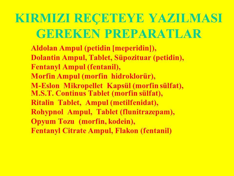 KIRMIZI REÇETEYE YAZILMASI GEREKEN PREPARATLAR Aldolan Ampul (petidin [meperidin]), Dolantin Ampul, Tablet, Süpozituar (petidin), Fentanyl Ampul (fentanil), Morfin Ampul (morfin hidroklorür), M-Eslon Mikropellet Kapsül (morfin sülfat), M.S.T.