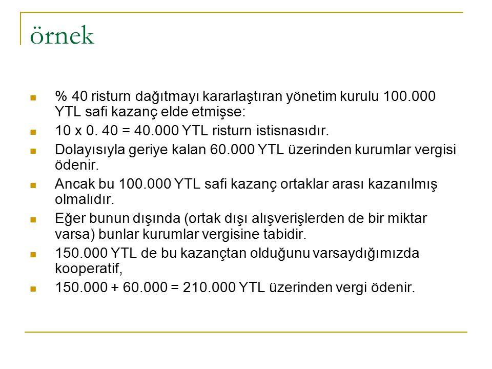 örnek % 40 risturn dağıtmayı kararlaştıran yönetim kurulu 100.000 YTL safi kazanç elde etmişse: 10 x 0.