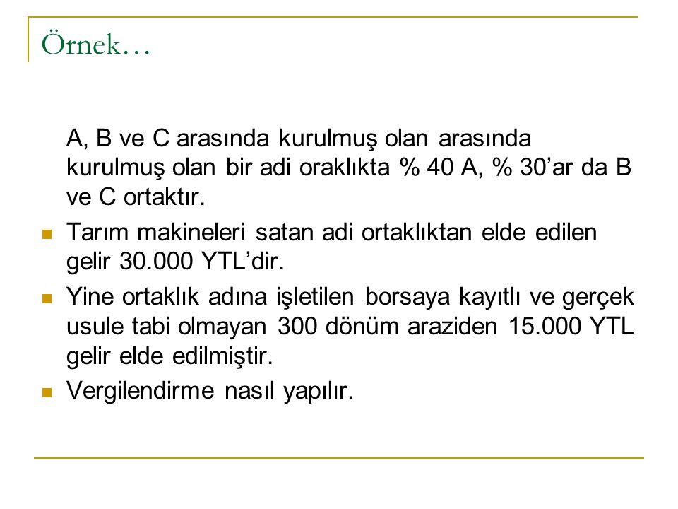 Örnek… A, B ve C arasında kurulmuş olan arasında kurulmuş olan bir adi oraklıkta % 40 A, % 30'ar da B ve C ortaktır.
