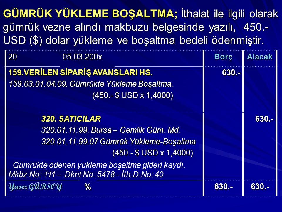 GÜMRÜK YÜKLEME BOŞALTMA; İthalat ile ilgili olarak gümrük vezne alındı makbuzu belgesinde yazılı, 450.- USD ($) dolar yükleme ve boşaltma bedeli ödenm