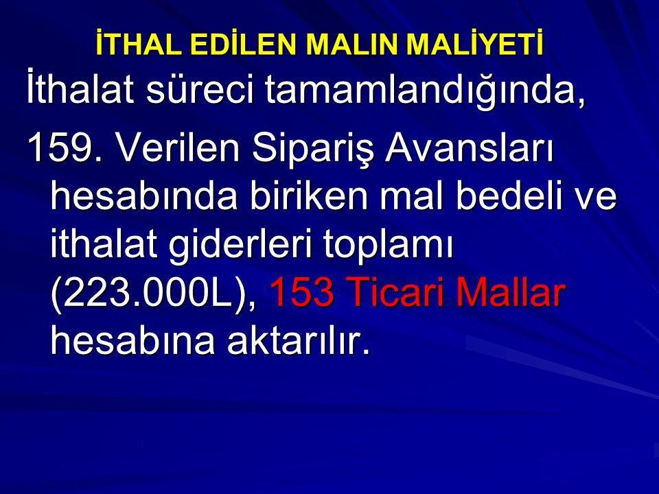 İTHAL EDİLEN MALIN MALİYETİ İthalat süreci tamamlandığında, 159. Verilen Sipariş Avansları hesabında biriken mal bedeli ve ithalat giderleri toplamı (
