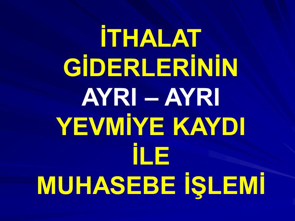 İTHAL EDİLEN MALIN MALİYETİ İthalat süreci tamamlandığında, 159.