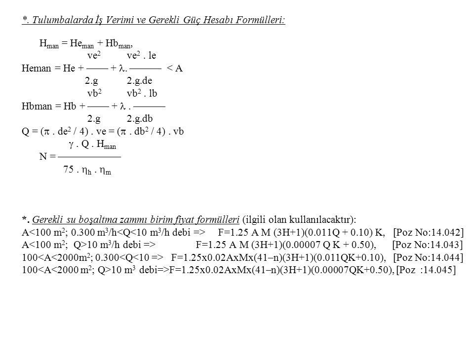 *. Tulumbalarda İş Verimi ve Gerekli Güç Hesabı Formülleri: H man = He man + Hb man, ve 2 ve 2. le Heman = He +  +.  < A 2.g 2.g.de vb 2 vb 2. lb